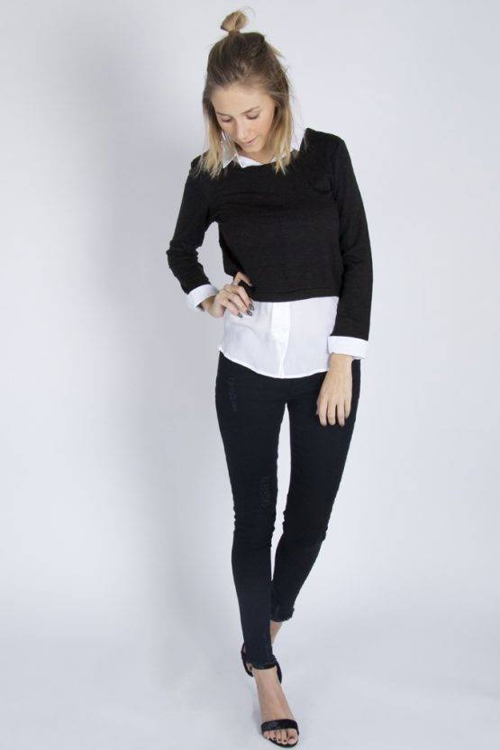 TUCK IT IN SWEATERBLOUSE BLACK
