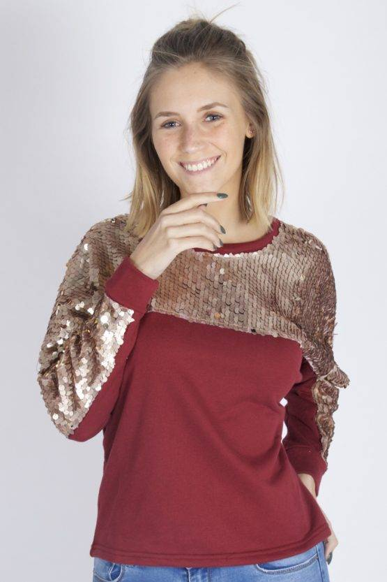 BORDEAUX SPARKLE LIKE A STAR SWEATER