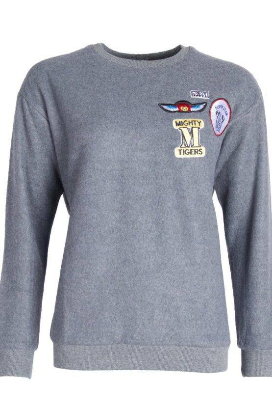 WHAT A PATCH SWEATER GREY
