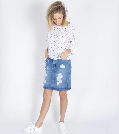 SHREDDED JEANS SKIRT