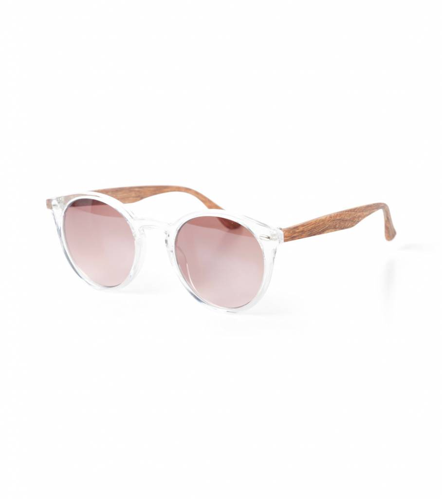 CLEAR FRAMED SUNNIES WITH WOODEN ARMS