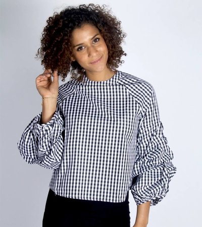 PARDON MY FRENCH CHECKED BLOUSE