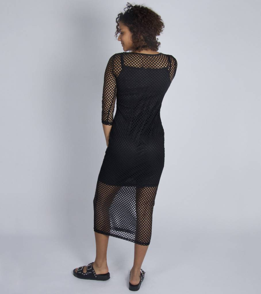 LONG FISHNET BLACK DRESS