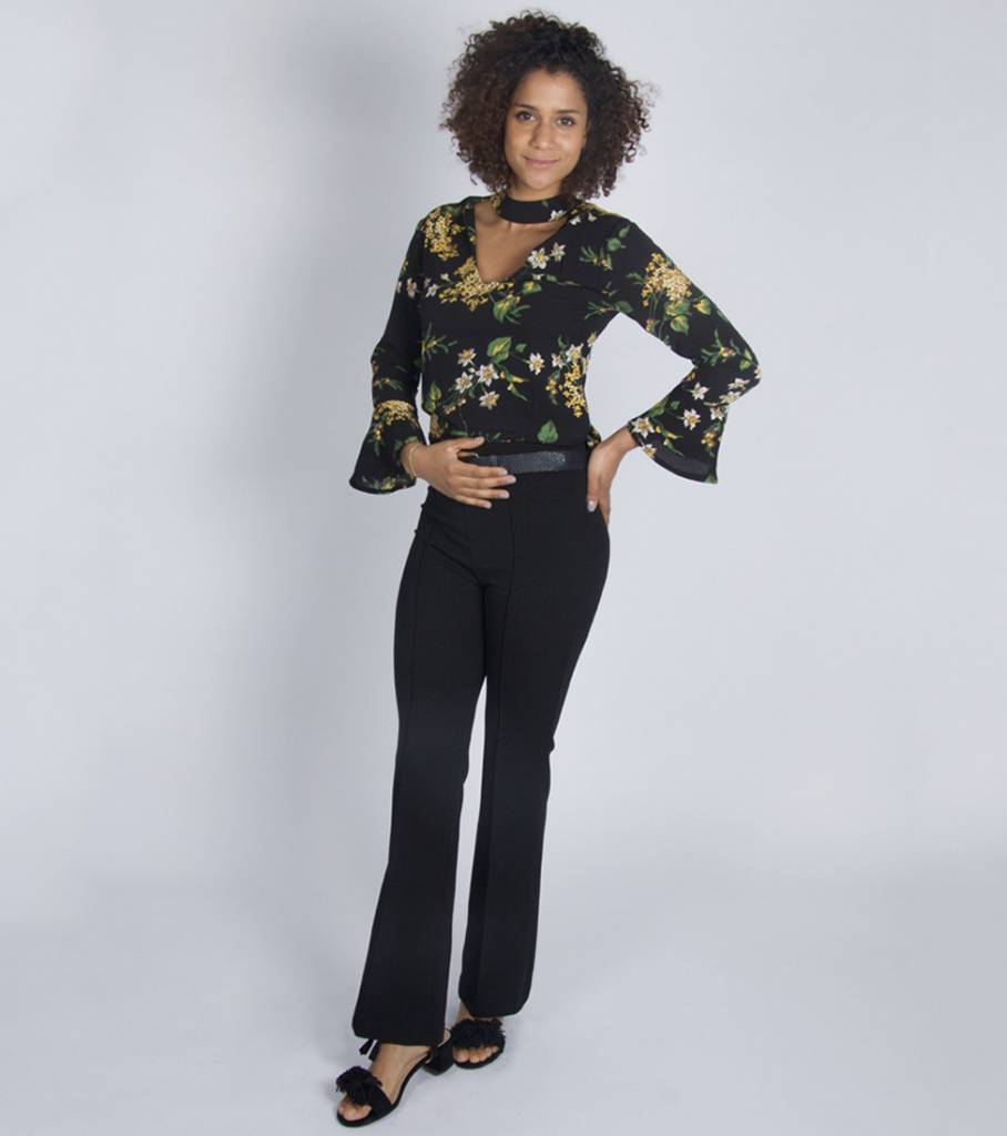 FLARED FLORAL CHOKER BLOUSE BLACK