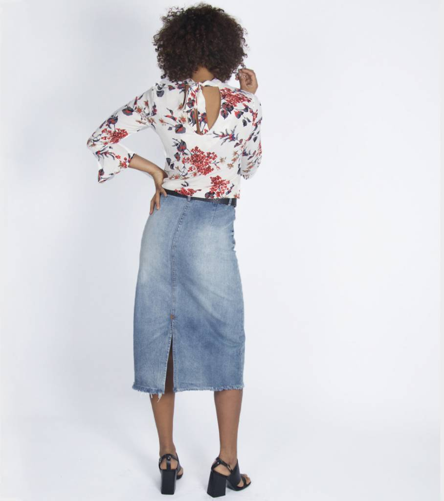 ROCKY RIPPED JEANS SKIRT