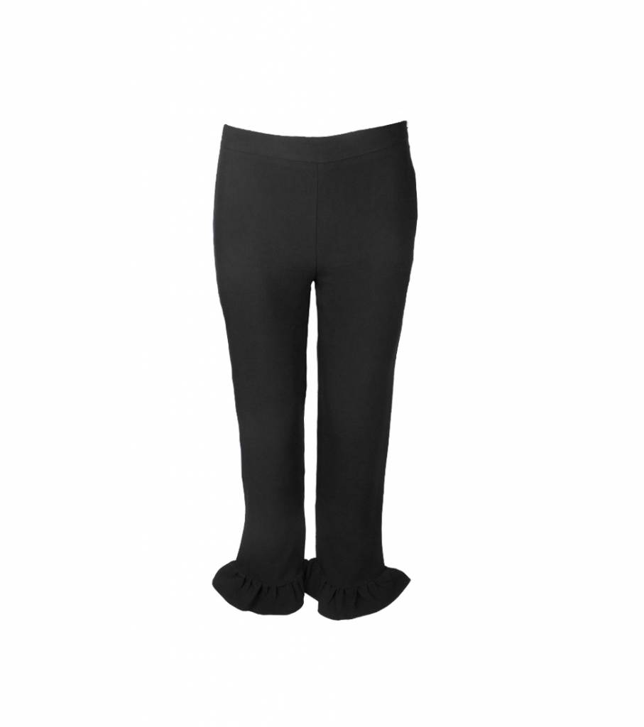 CHIQUE BLACK RUFFLED TROUSERS