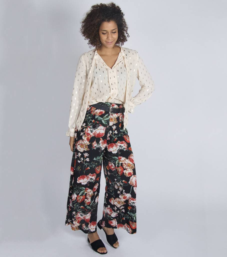 MIX AND MATCH FLORAL BOOM PANTS BLACK