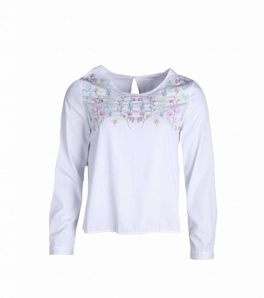 SAY YES TO FLOWERS BLOUSE WHITE