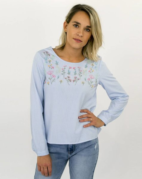 SAY YES TO FLOWERS BLOUSE BLUE