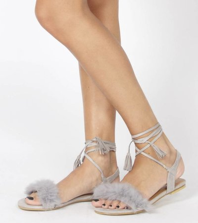 FLUFFY FLUFF GREY SANDAL