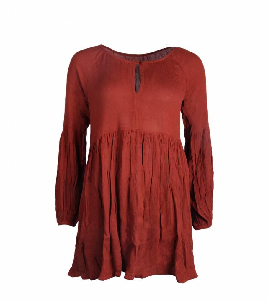 FLOWY BOHO DRESS BURGUNDY