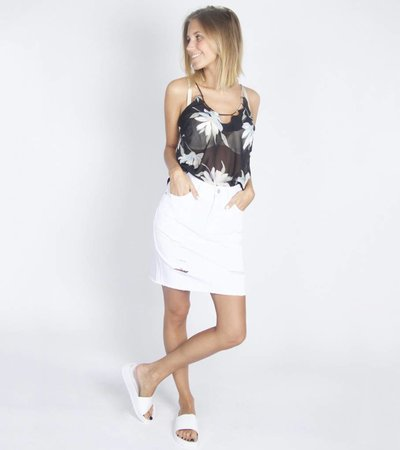 DESTROYED SKIRT WHITE