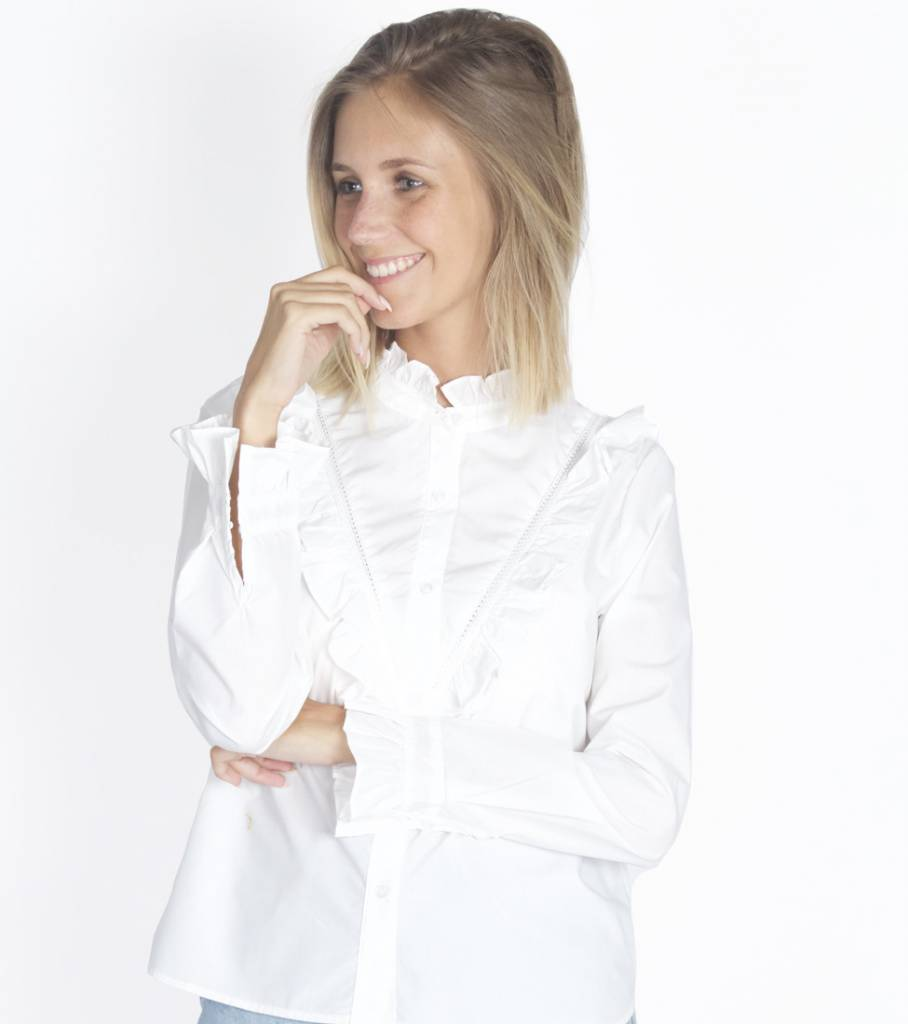 WHITE RUFFLE BUTTONED BLOUSE
