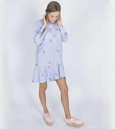 BLUE STRIPED MISTLETOE SHIRT DRESS