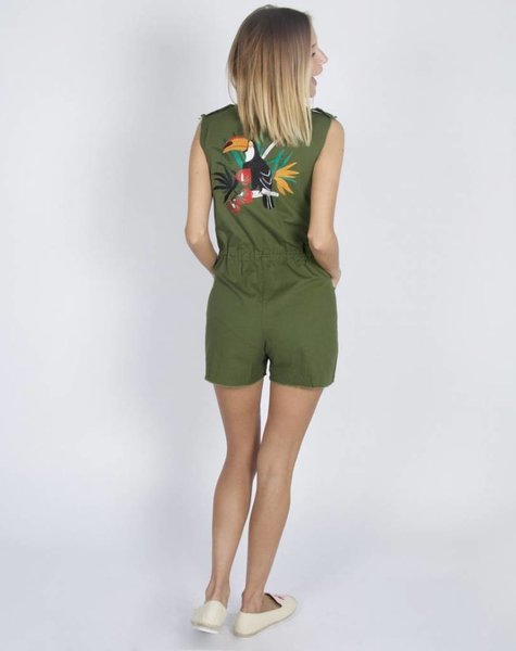 KAKI COCKATOO PLAYSUIT