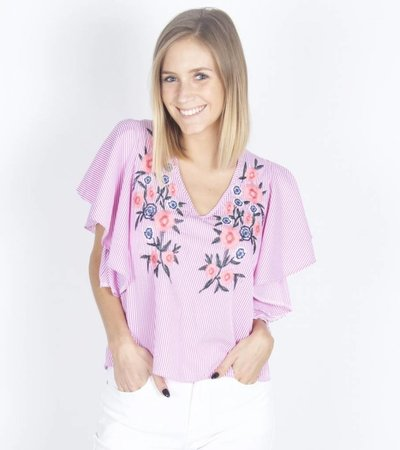 PINK STRIPED FLOWER BLOUSE