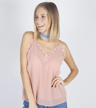 BASIC SALMON LACE TOP