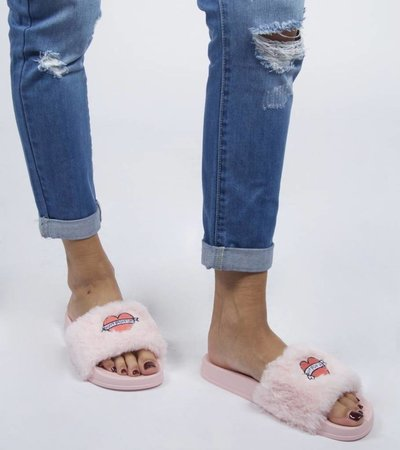 DONT GROW UP SLIPPERS PINK