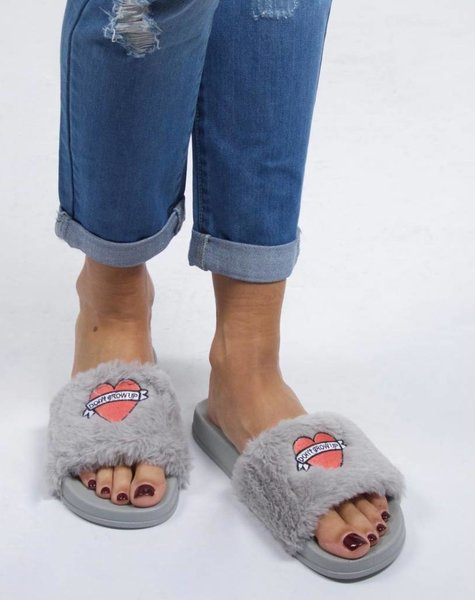 DONT GROW UP SLIPPERS GREY