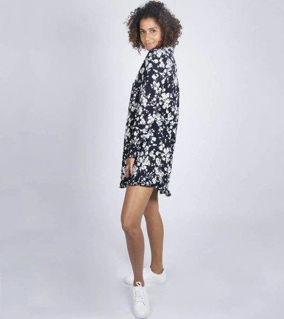 BLACK FLOWER BLOUSE DRESS