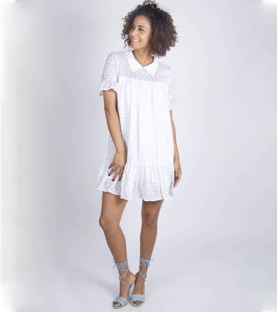 WHITE COLLAR PRINT DRESS