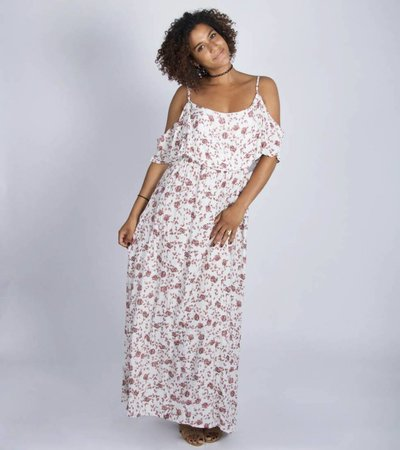 WHITE FLOWERED MAXIDRESS