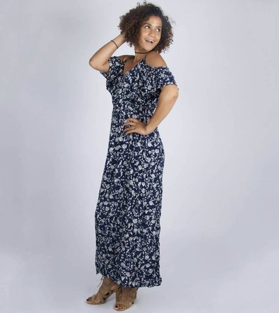 DARKBLUE FLOWERED MAXIDRESS