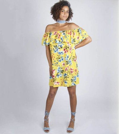 YELLOW FLOWERED OFF SHOULDER DRESS