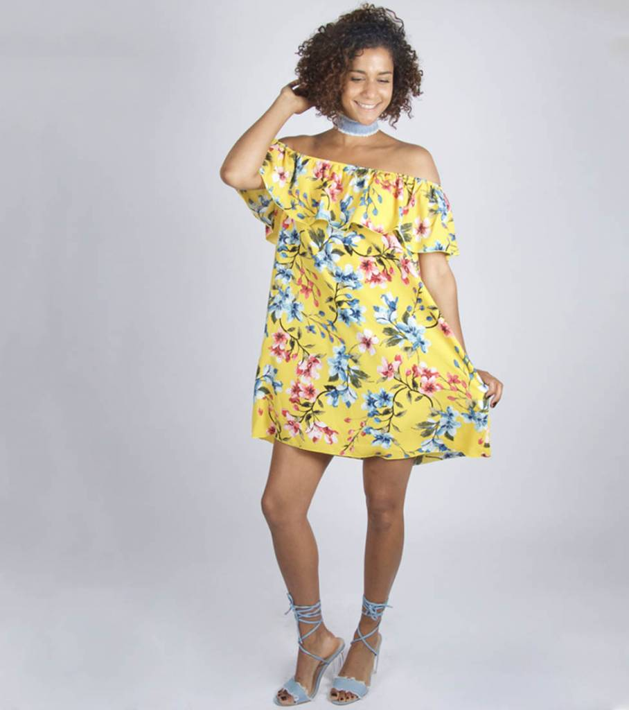 YELLOW FLOWERED OFF SHOULDER DRESS