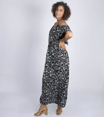 BLACK FLOWERED MAXIDRESS
