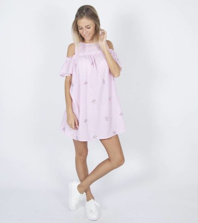 COLD SHOULDER PINK SWEETHEART DRESS