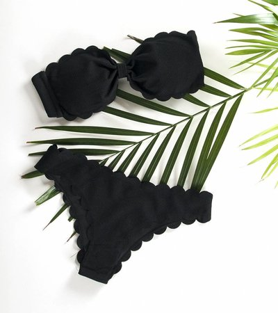 BLACK SCALLOPED BIKINI
