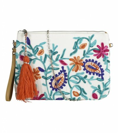 LETS BLOOM CLUTCH WHITE
