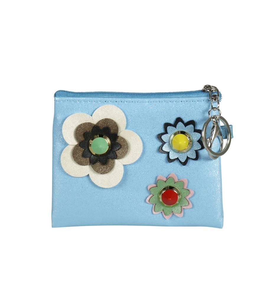 MINI FLOWER BLUE WALLET