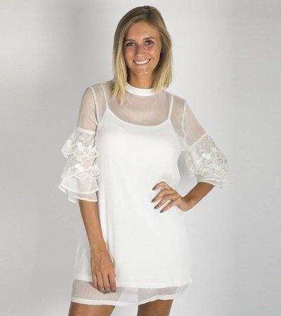 FLOWERS FLARED WHITE DRESS
