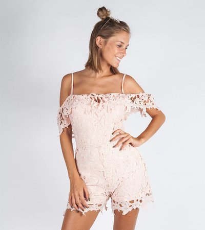 HAPPY PINK LACE PLAYSUIT