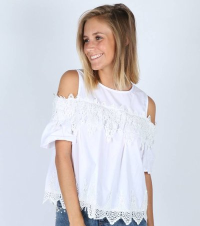 SHOW THE SHOULDER WHITE BLOUSE