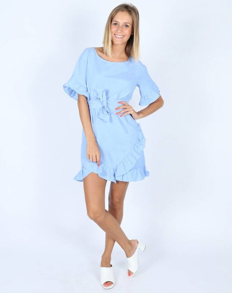 BLUE VOLANTS DRESS