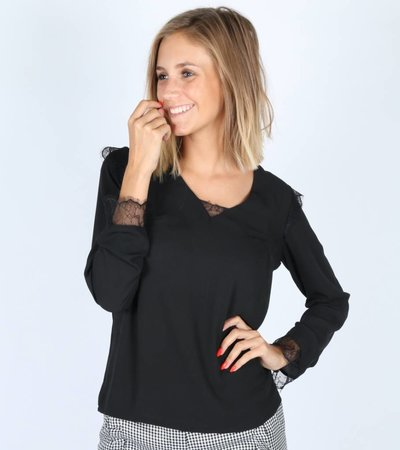V LACE DETAILED BLOUSE