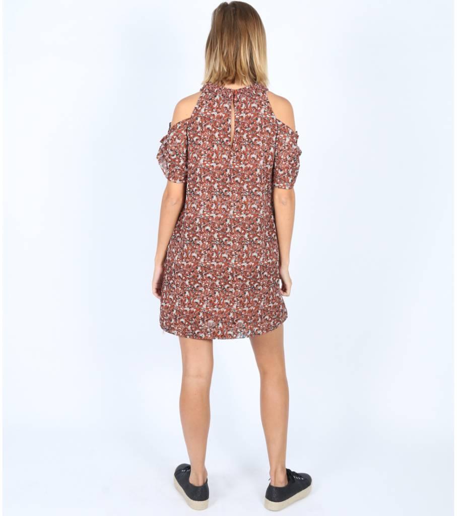 SUPER FLOWERED BROWN DRESS