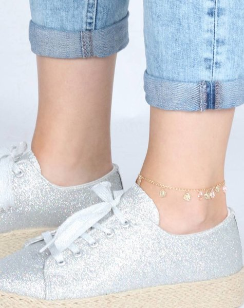 LEAVES AND DIAMONDS ANKLET
