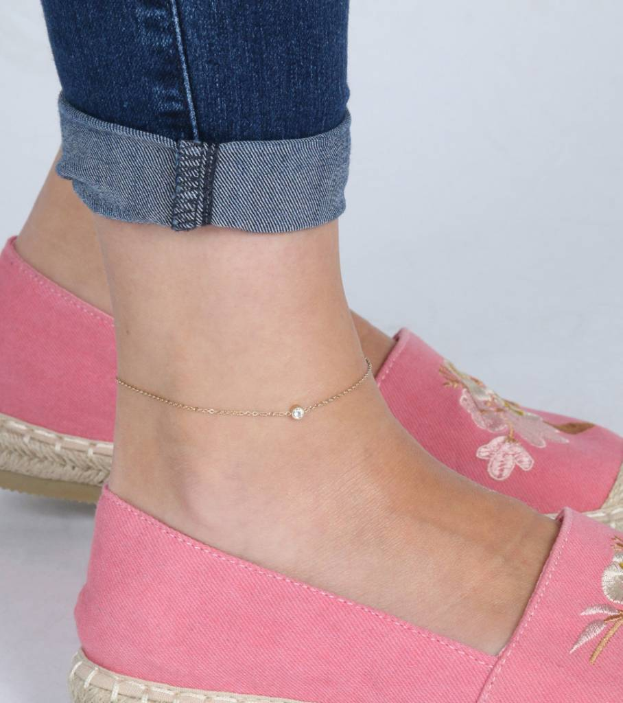 DIAMOND STONE ANKLET GOLD