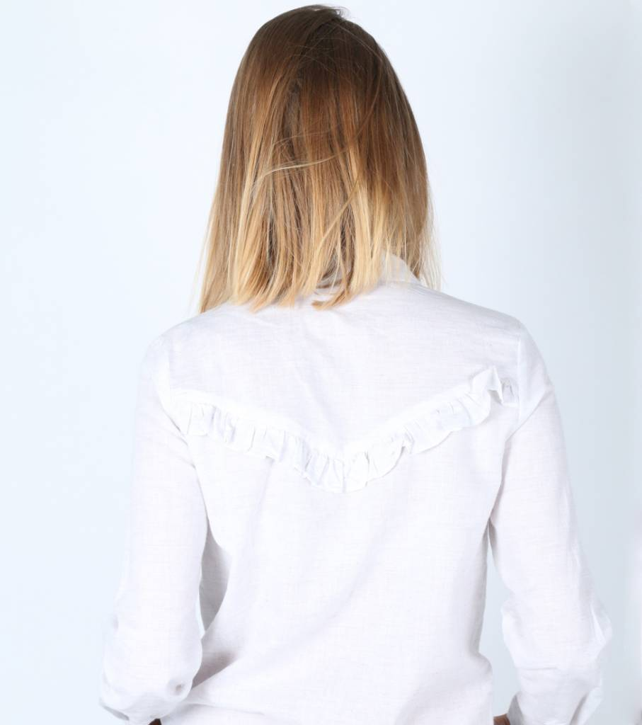RUFFLED BACK BLOUSE WHITE