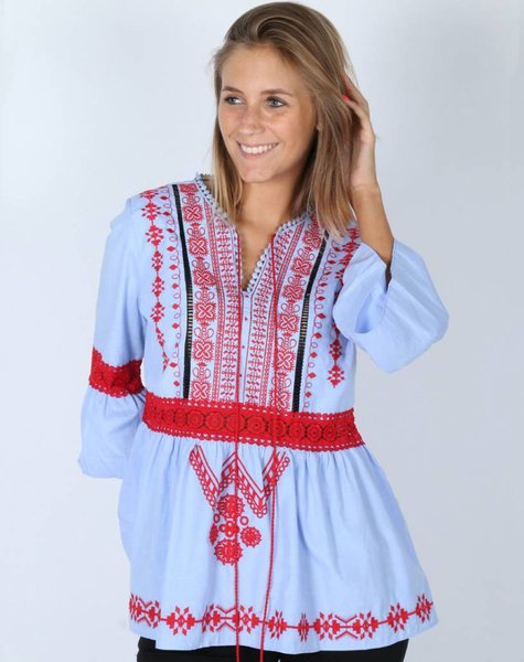 ALL THESE PATTERNS BLUE TUNIC