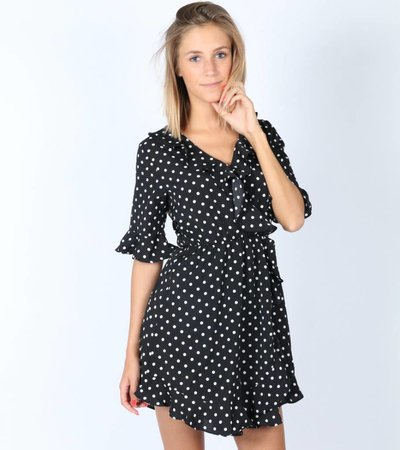 BLACK DOT WRAP DRESS