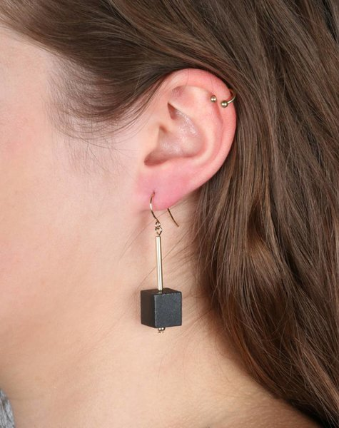 BLACK CUBE EARRINGS