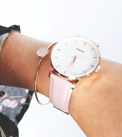 BLUSH LEATHER DETAIL BANGLE