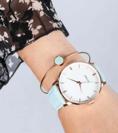 CYAN LEATHER DETAIL BANGLE