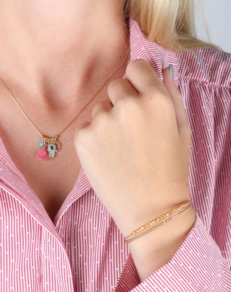 DOUBLE PEARL BRACELET BLUSH AND GOLD