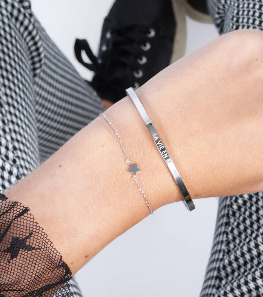 LA VIE EN ROSE BANGLE SILVER